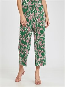 Kadın Beli Lastikli Desenli Pilili Pantolon