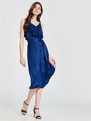 7b918334a8da4 Kadın Fırfır Detaylı Kuşaklı Saten Elbise