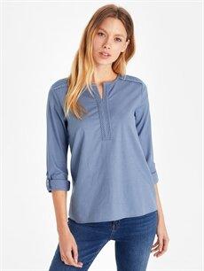 Mavi Dantelli Pamuklu Bluz 9SU126Z8 LC Waikiki