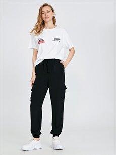 Siyah Beli Lastikli Viskon Kargo Pantolon 9SU129Z8 LC Waikiki