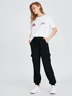 %100 Viskoz Normal Bel Standart Lastikli Bel Pantolon Beli Lastikli Viskon Kargo Pantolon