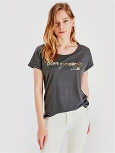 %66 Polyester %34 Viskoz Standart Baskılı Kısa Kol Tişört Diğer Yazı Baskılı Tişört