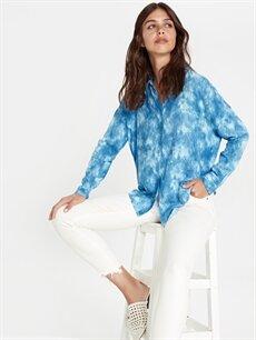 Mavi Boyundan Bağlamalı Vual Gömlek 9SU210Z8 LC Waikiki