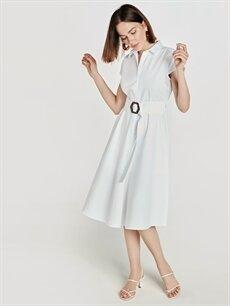 Beyaz Kuşaklı Pamuklu Gömlek Elbise 9SU253Z8 LC Waikiki
