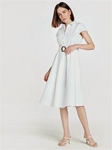 %100 Pamuk %100 Polyester Diz Altı Düz Kısa Kol Kuşaklı Pamuklu Gömlek Elbise