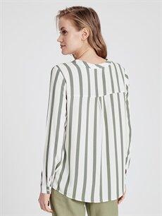 Kadın Çizgili Viskon Bluz