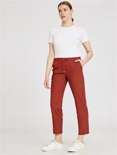 %83 Pamuk %17 Keten Normal Bel Esnek olmayan Havuç Lastikli Bel Pantolon Beli Lastikli Havuç Pantolon
