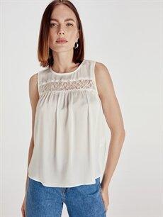 Beyaz Yakası Dantelli Saten Bluz 9SU400Z8 LC Waikiki