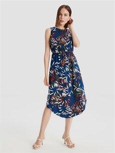%100 Viskoz Diz Altı Desenli Kolsuz Beli Büzgülü Desenli Viskon Elbise