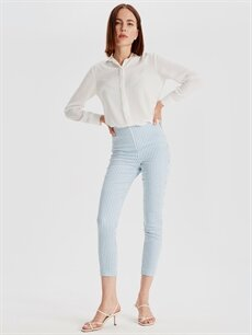%67 Pamuk %30 Polyester %3 Elastan Bilek Boy Çizgili Skinny Kumaş Pantolon