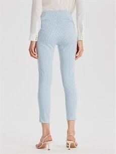 Lacivert Bilek Boy Çizgili Skinny Kumaş Pantolon