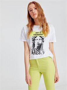 Beyaz Baskılı Neon Detaylı Pamuklu Tişört 9SU454Z8 LC Waikiki