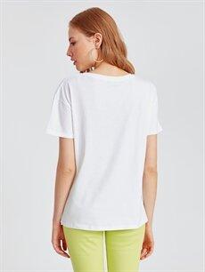 Kadın Baskılı Neon Detaylı Pamuklu Tişört
