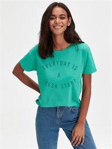 Yeşil Yazı Baskılı Pamuklu Tişört 9SU493Z8 LC Waikiki
