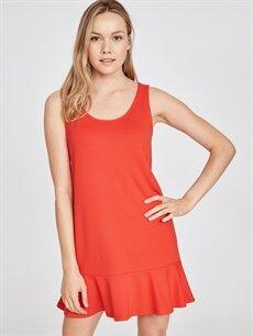 Kırmızı Kolsuz Viskon Kloş Elbise 9SU505Z8 LC Waikiki