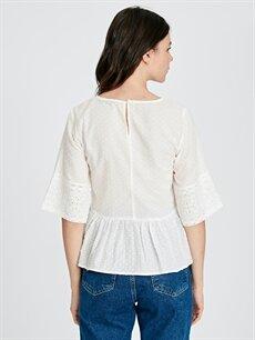 Kadın Pamuklu Dantelli Bluz