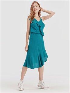 %100 Viskoz Diz Altı Düz Kolsuz Fırfır Detaylı Asimetrik Viskon Elbise