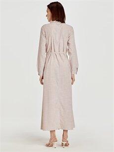 Kadın Kemerli Çizgili Uzun Gömlek Elbise