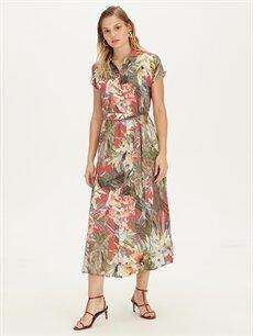 Turuncu Çiçek Desenli Kuşaklı Viskon Gömlek Elbise 9SU607Z8 LC Waikiki