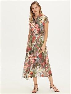 %100 Viskoz Diz Altı Desenli Kısa Kol Çiçek Desenli Kuşaklı Viskon Gömlek Elbise