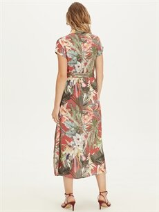 Kadın Çiçek Desenli Kuşaklı Viskon Gömlek Elbise