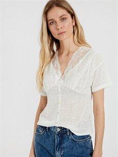 %100 Polyester  Yakası Dantelli V Yaka Bluz