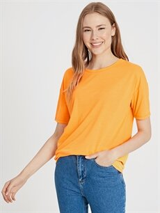 %100 Polyester Standart Tişört Düz Kısa Kol Bisiklet Yaka Düz Neon Tişört