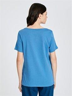 Kadın Işıltılı Yazı Baskılı Pamuklu Tişört
