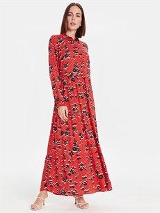 Kırmızı Çiçek Desenli Uzun Viskon Elbise 9SU976Z8 LC Waikiki