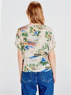 Kadın Çiçekli Viskon Bluz