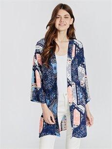 %100 Viskoz  Desenli Şifon Kimono