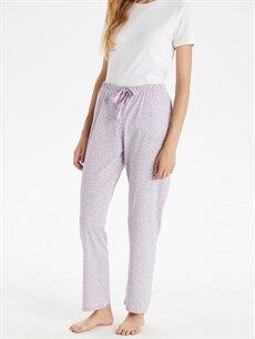 Kadın Desenli Beli Lastikli Pijama Alt