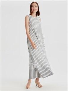 %54 Polyester %43 Viskoz %3 Elastan Uzun Çizgili Kolsuz Çizgili Esnek Salaş Elbise