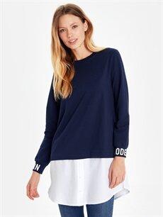 %74 Pamuk %20 Polyester %6 Elastan  Yazı Baskılı Gömlek Detaylı Tunik