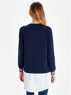 Kadın Yazı Baskılı Gömlek Detaylı Tunik