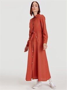 Kahverengi Düğmeli Poplin Gömlek Elbise 9SV127Z8 LC Waikiki
