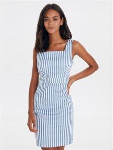 Lacivert Kare Yaka Çizgili Mini Elbise 9SV150Z8 LC Waikiki