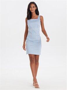 %66 Pamuk %31 Polyester %3 Elastan Diz Üstü Çizgili Kolsuz Kare Yaka Çizgili Mini Elbise