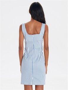 Kadın Kare Yaka Çizgili Mini Elbise