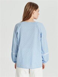 Kadın Puantiyeli Pamuklu Bluz