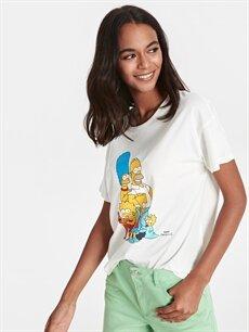 %100 Pamuk Standart Baskılı Kısa Kol Tişört Bisiklet Yaka The Simpsons Baskılı Pamuklu Tişört