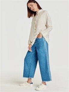 %100 Pamuk Standart Jean Yanları Şerit Detaylı Jean Pantolon