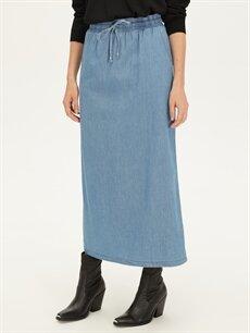 Kadın Cepli Uzun Jean Etek