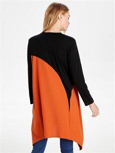 Kadın Asimetrik Kesim Renk Bloklu Salaş Tunik