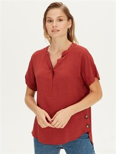%100 Viskoz  Düğme Detaylı Viskon Bluz
