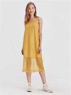 %100 Polyester %100 Polyester Diz Altı Desenli Kolsuz File Elbise