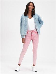 %98 Pamuk %2 Elastan Yüksek Bel Dar Jean Super Skinny Jean Pantolon