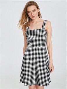 Kadın Sırt Detaylı Pamuklu Ekose Elbise