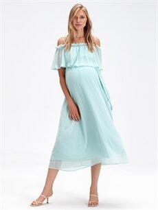 %100 Polyester %100 Polyester Elbise Omuzları Açık Şifon Hamile Elbise