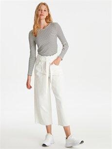 Beyaz Kendinden Kemerli Yüksek Bel Jean Pantolon 9SY037Z8 LC Waikiki